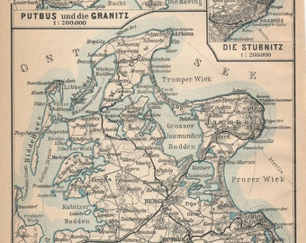 1910 Rugen Island Germany Antique Map