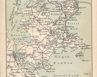 1877 Rugen Island Germany Antique Map