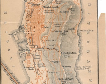 1911 Gibraltar Antique Map