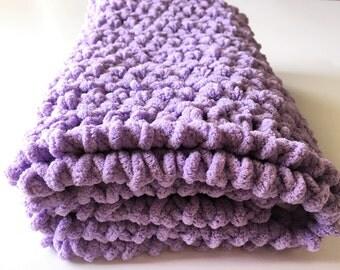 Lilac Baby Blanket, Crochet Baby Blanket, Lavender Blanket, Baby Girl Blanket, Car Seat Blanket, Blanket, Handmade Blanket, Free Shipping