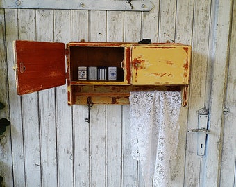 Shabby Cupboard Rustic Wall Cabinet With Old Paint / Hanging Cabinet / Wall  Cupboard