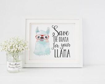 Save the Drama For your Llama Nursery Decor Llama Art Print Llama glasses Alpaca glasses Alpaca Art Print Nursery Art Print Home Decor