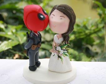 Deadpool Groom and brunette bride. Wedding cake topper. Wedding figurine. Handmade. Fully customizable. Unique keepsake