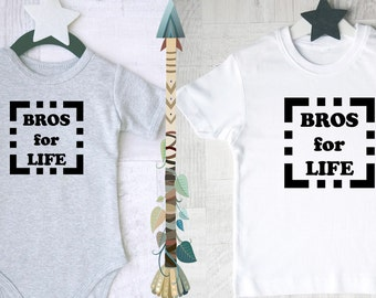 Bros for life matching outfits. Outfits for big brother and little brother. Brother Gifts.