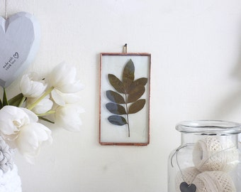 Hanging Hinged Double Stained Glass Frame, Photo Display, Pressed Flowers Display, Preserved Leaves Frame