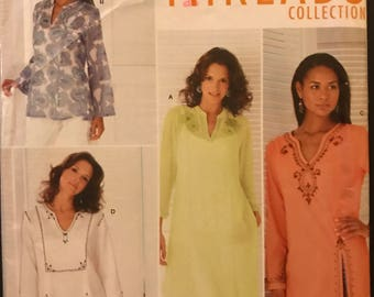 Simplicity 4528 - Kurti Styled Top or Tunic with Neckline Slash and Side Slits - Size 6 8 10 12