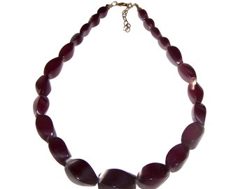 Red Necklace - Burgundy Necklace - SALE -  Big Graduated Bead Strand - Statement Necklace