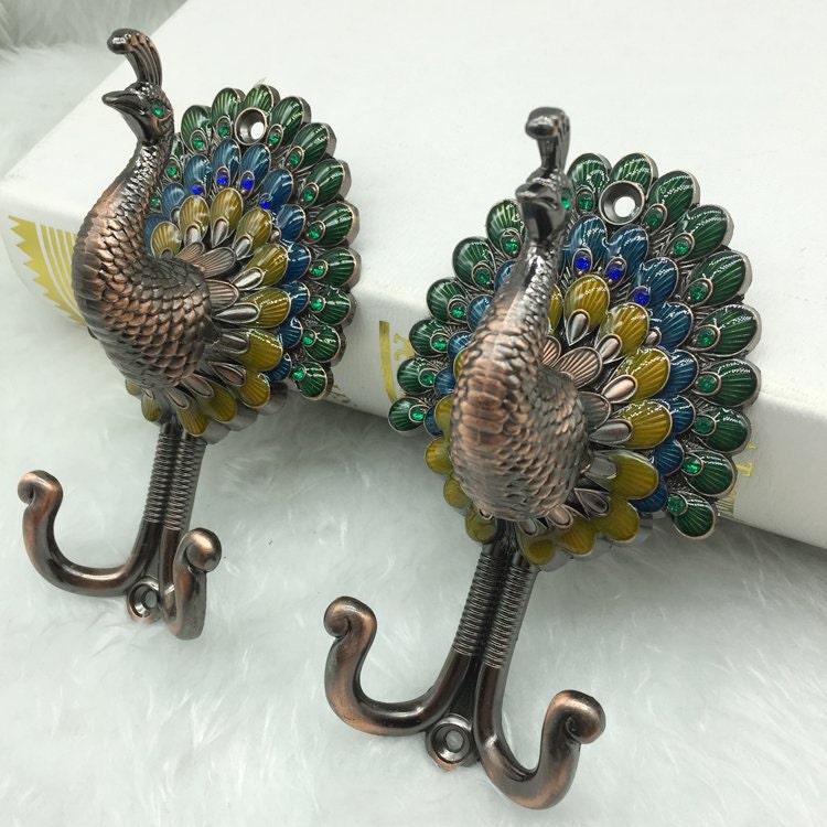 Peacock Decorative Wall Hooks Vintage Look Metal Wall Hooks Hat Coat Rack Hangers