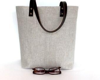 Medium Hemp Tote Bag with Brown Leather Straps, Canvas Lined Tote Bag with pocket, Hemp Canvas Tote Bag, canvas tote, pure hemp grey