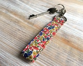 Floral Keyfob - Red Keyring - Red Floral Key Chain - Wristlet Key Ring with Snap - Personalized Key Fob