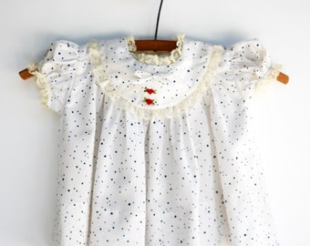 Blue Dot Baby Girl Heart Dress, Vintage Baby Clothes, Size 12 Months, 1960s