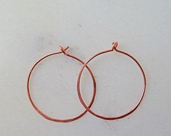 Copper hoop earrings - hypoallergenic hoop earrings - thin hoop earrings - forged jewellery - hammered Copper hoops - hammered metal - UK