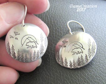 Bear Earrings - Mountain Jewelry - Mountain Earrings - Bear Jewelry - Stamped Earrings - Forest Jewelry - Nature Jewelry - Wildlife Jewelry