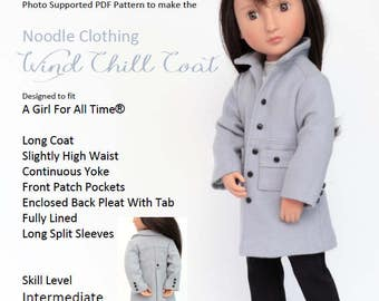 Noodle Clothing Wind Chill Coat -  PDF Pattern for 16 inch Girl For All Time® dolls