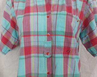 Vintage 1980's Paris Sport Club Plaid Button Up Shirt boxy fit  sz M