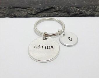 Karma Keyring, Karma Keychain, Initial Keyring, Hand Stamped Keyring, Personalised Keyring, Karma Gift