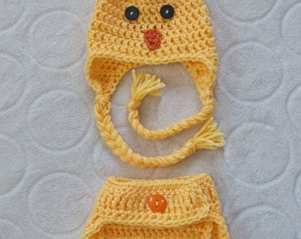 SALE!!! Baby Chick Hat and Diaper Cover Set - Newborn Size only