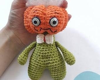 Crochet pumpkin monster - Halloween decorations - Pumpkin figurine - Halloween monster - Halloween pumpkin - Scary pumpkin - Cute monster
