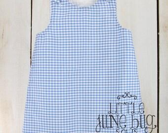 Gingham A-Line Dress, Baby Girl Gingham Dress, Little Girl Gingham Dress, A-Line Dress Blank