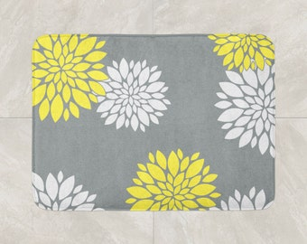 Floral Bath Mat, Yellow Grey Bathroom Decor, Foam Bath Rug, Flowers Bath Mat