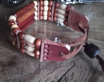 Indian bracelet wood and bone  4 rows  ref: B 208
