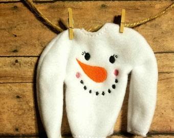 Snowman or snow girl elf sweater