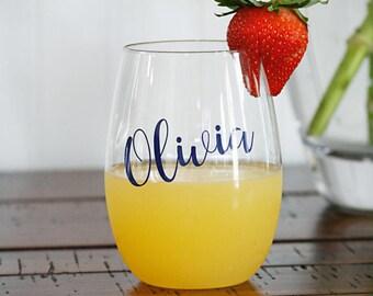 Personalized Plastic Wine Glasses, Bridesmaid Wine Glasses, Personalized Glasses, Plastic Stemless Wine Glasses, Bachelorette Wine Glasses