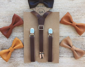 Boys Leather Suspenders, Baby Leather Suspenders and Bow Tie, First Birthday, Ring Bearer, Wedding