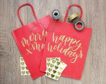 Holiday Gift Bags | Merry Christmas | Happy Holidays | 8x10 Red Bag | Handlettered Gold Embossing | Set of 2