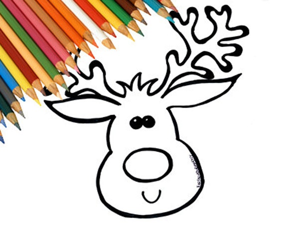 Articoli simili a renna di natale pagina da colorare for Immagini disegni kawaii