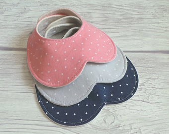 Polka Dot Baby Bib Set / Peter Pan Collar Bib / Toddler Bib / Drool Bib / Teething Bib / Organic Fleece / Pink, Gray and Navy / Baby Girl