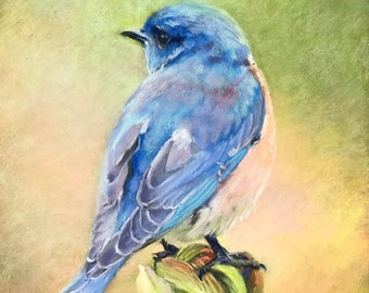 Original Painting Bird Blue Bird Nature