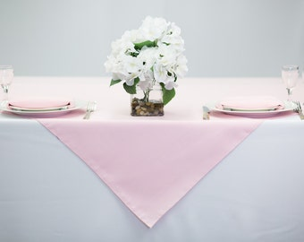 54 inch Square Pink Tablecloth Polyester | Wedding Table Overlay