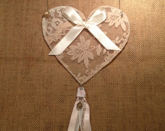 Pink and Off White Lace and Wire Heart