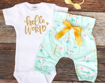 Coming Home Outfit Girl | Hello World Take Home Outfit | Mint Floral High Waisted Pants Coming Home Outfit | Newborn Take Home Outfit