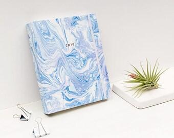 2017 - 2018 Agenda Marble Arctic Blue Planner Hardcover Spiral Bound
