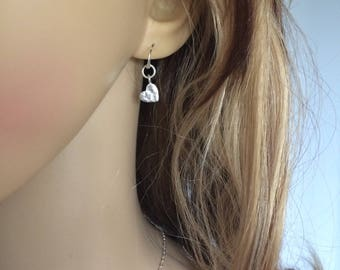 Small Sterling Silver hammered heart earrings