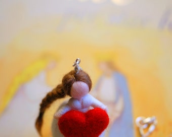 Heart necklace, fairytale wool, Waldorf inspiration