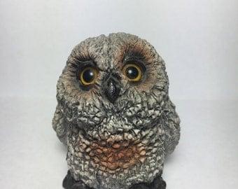 Vintage Grayish-Brown Owl Figurine - Made in Oklahoma USA