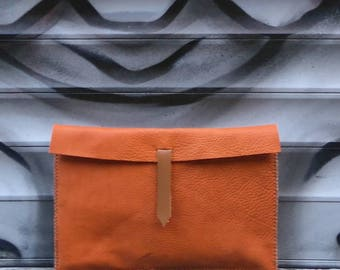 Handmade leather clutch bag - orange & from recycled leather