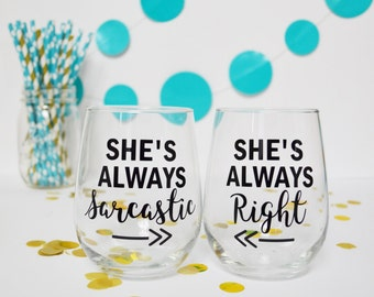 Best Friend Wine Glass Set  // Best Friend Gift  // Wine Glasses // Funny wine Glass set // Funny Best Friend Gift  // Gift for Best Friend