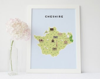 Map of Cheshire - Illustrated map of Cheshire
