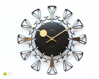 Mid Century EUROPA WALL CLOCK - Junghans Modern Starburst Atomic Germany iron mcm 60s 70s