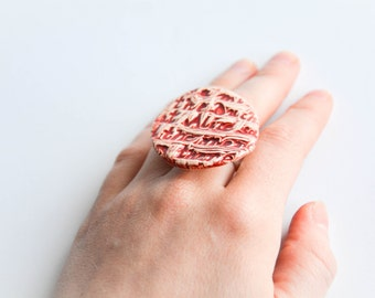 LARGE STATEMENT ceramic RING, Ceramic jewellery, Alice in Wonerland jewellery, Alice in Wonderland ring, Christmas gift for daughter, Red