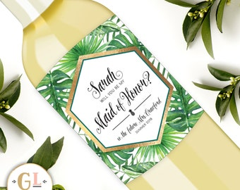 Tropical Will You Be my Bridesmaid Wine Labels, Destination Wedding Bridesmaid Proposal, Maid of Honor Ask, Bridesmaid Thank You Gift