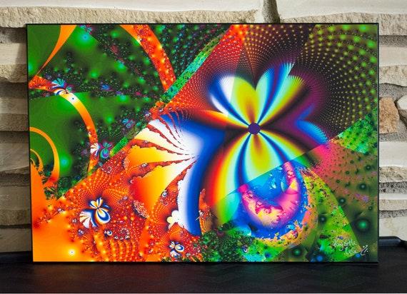 Fractal Art, Trippy Flower Artwork. Psychedelic Art. Original Digital Artwork. Flower Art Print. Abstract Wall Art. Wood Art. READY to HANG!