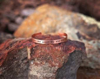 In the sweet by and by Copper Cuff Bracelet | Boho Jewelry Christian Hymn Handstamped