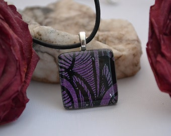 fused glass dichroic engraved pendant, purple dazzle, handmade, kiln fired