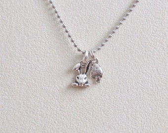 Bunny Necklace, Rabbit Jewelry, Bunny Charm,  Charm Necklace, Woodland Theme, Toadstool Charm
