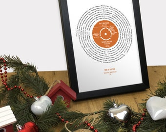 Our Song Personalised Print CHRISTMAS GIFT SPECIAL Vinyl Lp Record Design Fully Framed 4 Sizes - Romantic Gift for her or him - Uk Version